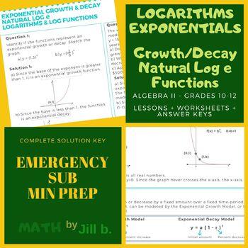Logarithms & Exponentials Algebra 2 Lesson + Worksheet + Answer Key