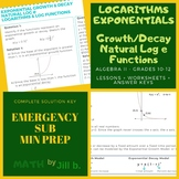 Logarithms & Exponentials Algebra 2 Lesson + Worksheet + A