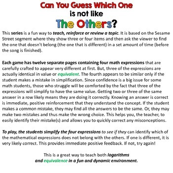 Logarithms I - Can you guess which one? - print version
