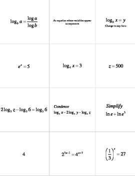 Logarithms Memory Review Game