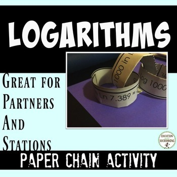 Logarithms and Exponential Equations Paper Chain Activity