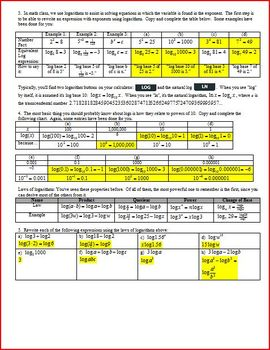 Logarithms Refresher Spring 2013 with answer key (Editable)
