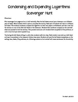 Logarithms Scavenger Hunt - Condensing and Expanding