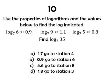 Logarithms Scavenger Review Activity
