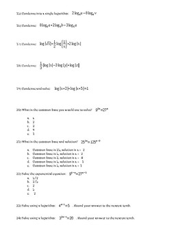 Logarithms Unit Test with Answer Key