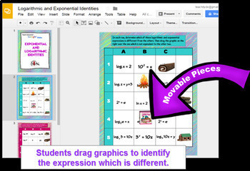 Logarithms and Exponential Equivalent Forms with GOOGLE™  Slides