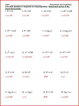 Logarithms and Exponentials (WS)