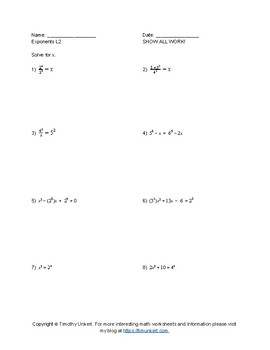 Logarithms and Exponents Worksheet Pack with Quiz Included