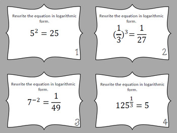 Logarithms and Logarithmic Functions Task Cards