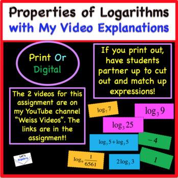 """Logarithms and Their Properties """"Explore, Cut, & Match"""""""
