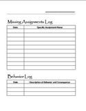 Missing Assignments and Behavior Logbook pages
