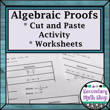 Proof - Logic - Logic Algebraic Proofs Cut, Match and Paste Group Activity