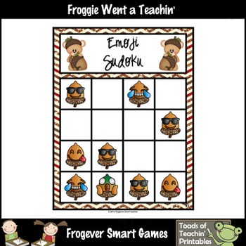 "Logic--Emoji Sudoku Puzzle Gameboards/Emoji Acorn Theme ""Happy Fall"""