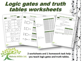 Logic Gates and Truth Tables Worksheets