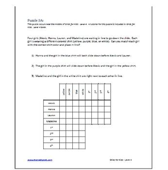 Logic Grids for Kids:  Level 4