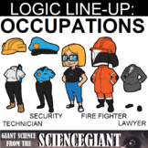 Logic LineUp Puzzle: Occupations (Technician, Security, Fire Fighter, Lawyer)