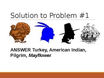 Logic LineUp Powerpoint: Thanksgiving (Turkey, Pilgrim, Mayflower, Am. Indian)