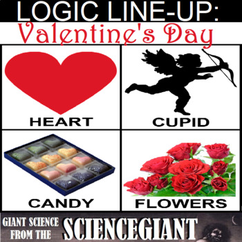 Logic LineUp: Valentine's Day Puzzle (Candy, Hearts, Cupid, and Flowers)