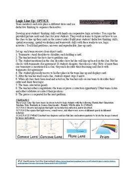 Logic LineUp: Optics and Lenses Puzzle (Convex, Concave, Plane and Prism)