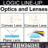 Logic LineUp: Optics and Lenses Puzzle (Convex, Concave, Plane and Prism)