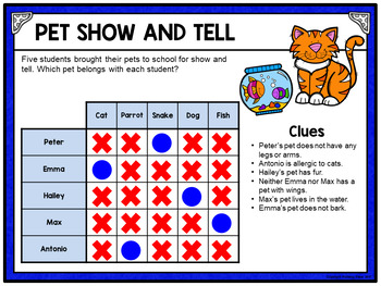 Logic Puzzle Brain Teasers with Grids - Paperless Digital Activity - Set ONE