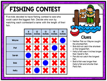 Logic Puzzle Brain Teasers with Grids - Paperless Digital Activity - Set TWO