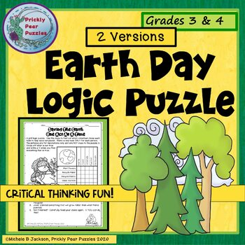 Logic Puzzle, Earth Day, Math Centers,  Problem Solving, Early Finishers,