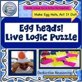Logic Puzzle, Spring, Easter, LIVE Puzzle, Middle School, Active Participation