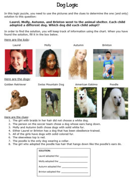 Logic Puzzle - Who Adopted Who? (Bellringer/Free Time/Critical Thinking Fun)
