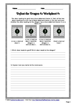 graphic regarding Easy Logic Puzzles Printable named Logic Puzzle Worksheet 2.1 - Overcome the Dragon #2, Solitary Printable Worksheet #1