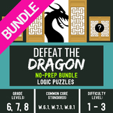 Brain Teasers and Logic Puzzles - Defeat the Dragon #2 Bundle of Worksheets