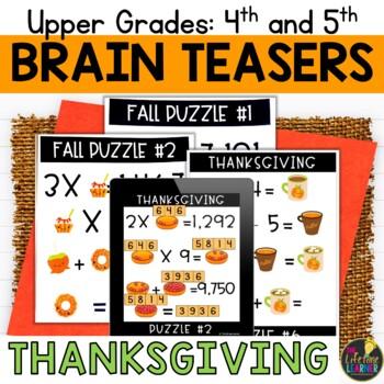 Thanksgiving Upper Grade Brain Teasers