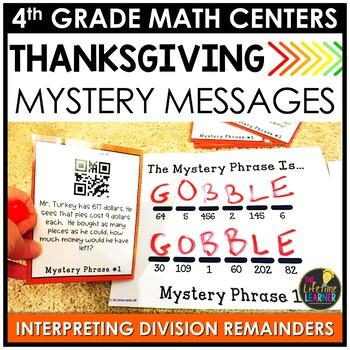 QR Codes Division Interpreting Remainders Thanksgiving Game