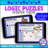 Winter Logic Puzzles with Grids   for Google Classroom   D
