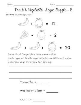 Logic Puzzles {Fruit & Vegetable Themed}