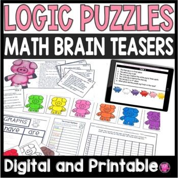 Math Logic Puzzles Fun End of Year Activities Pig Theme
