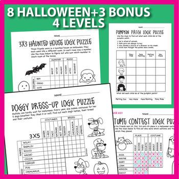 Logic Puzzles Holiday Bundle: Halloween, Thanksgiving, Christmas