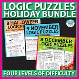 Logic Puzzles Holiday Bundle: Halloween, Thanksgiving, Christmas
