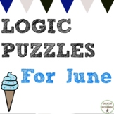 Summer Math Logic Puzzles June themed