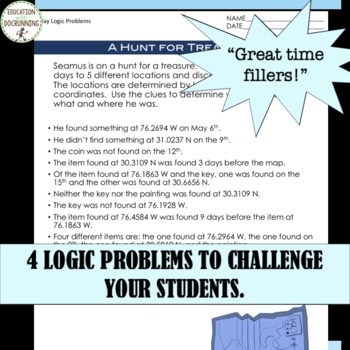 Logic Puzzles for May for Spring Math UPDATED