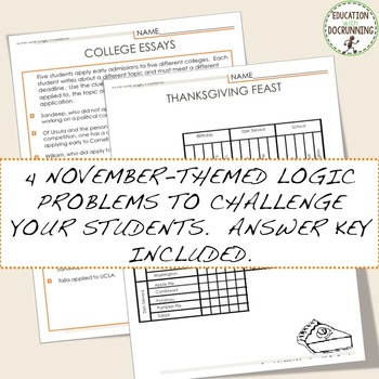 Thanksgiving and November Logic Puzzles for Thanksgiving and Autumn