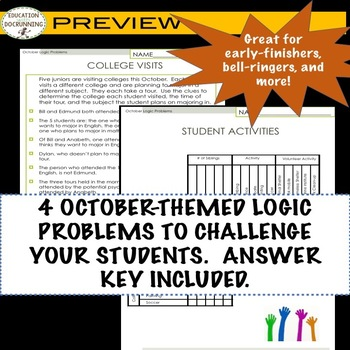 October Logic Puzzles for Autumn or Halloween Math