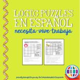 Puzzles: Logic puzzles in Spanish, necesita vive trabaja