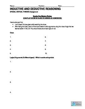 Logic and Reasoning Fun Activity, Homework, Quiz, Extra Credit, Group Work