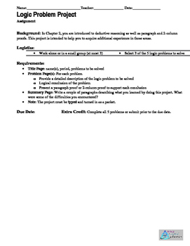 Logic and Reasoning Problem Project, Homework, Quiz, Extra Credit, Group Work