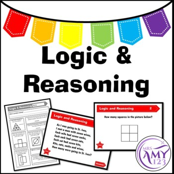 Logic and Reasoning Problem Solving Task Cards, PP and Worksheet