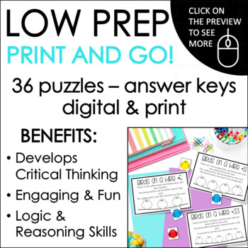 Math Logic Puzzles:  Logic and Reasoning Puzzle Task Cards for Gr. 1-3