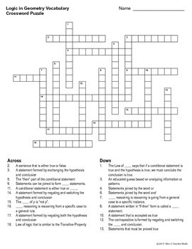 Logic in Geometry Vocabulary Crossword Puzzle