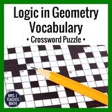 Logic in Geometry Vocabulary Crossword Puzzle