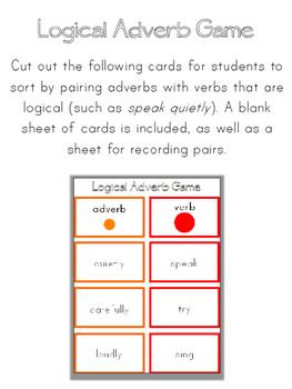 Montessori Logical Adverb Grammar Game
